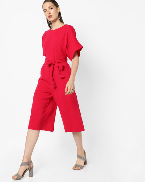 Jumpsuit With Tie-Up Belt By AJIO ( Pink )