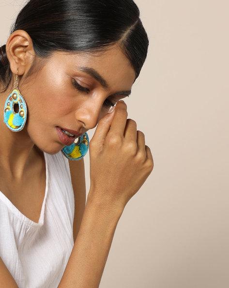 Beaded Dangler Earrings With Pom Pom By Indie Picks ( Blue )
