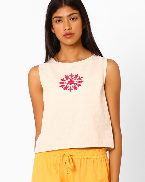 Sleeveless Crop Top With Embroidery By AJIO ( Offwhite )