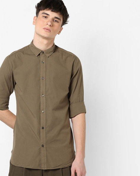 Slim Fit Cotton Shirt By Blue Saint ( Green )