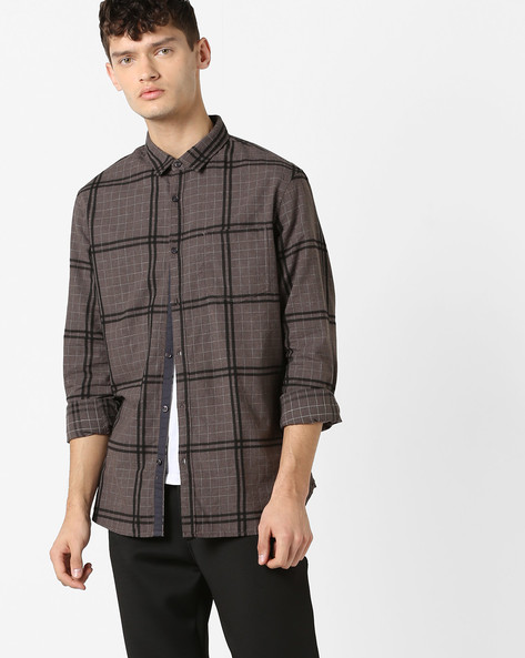 Checked Shirt With Front Pocket By AJIO ( Brown )