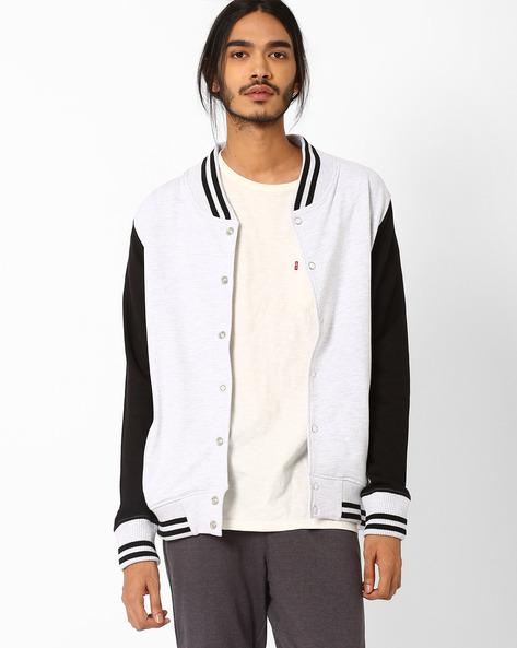 Slim Sweatshirt With Front Button Placket By Blue Saint ( Black )