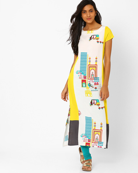 Printed Kurta With Zip Detail By W ( Ltgrey )