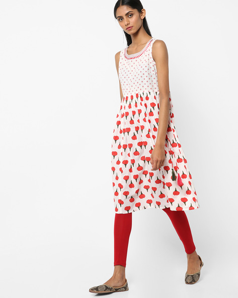 Printed A-line Kurta With Tassel Tie-Up By AJIO ( Ivory )