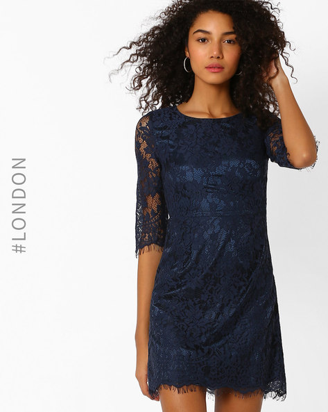 Lace Sheath Dress By Zibi London ( Navyblue )
