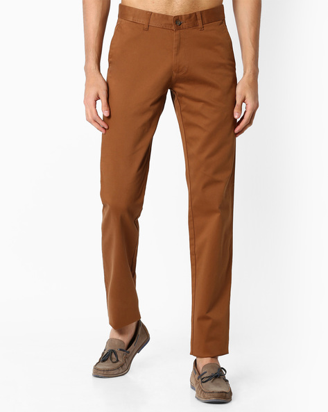Slim Fit Chinos With Welt Pockets By VIMAL APPARELS ( Khaki )