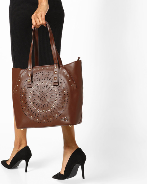 Embellished Tote Bag With Laser Cut Outs By E2O ( Brown )