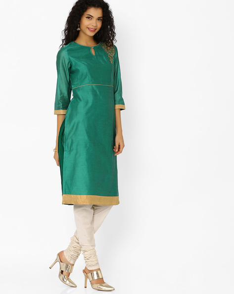 Chanderi Kurta With Zari Taping By AJIO ( Darkgreen )