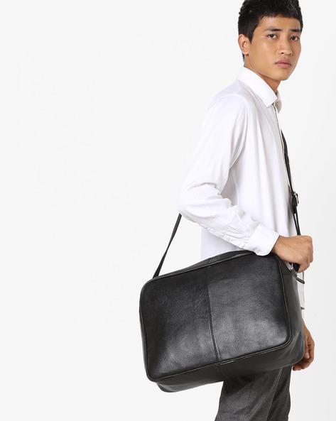 Genuine Leather Messenger Bag By JUSTANNED ( Black ) - 460147680001