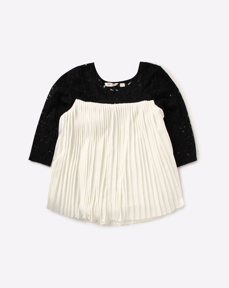 Top With Lace & Gathers By POINT COVE ( White )