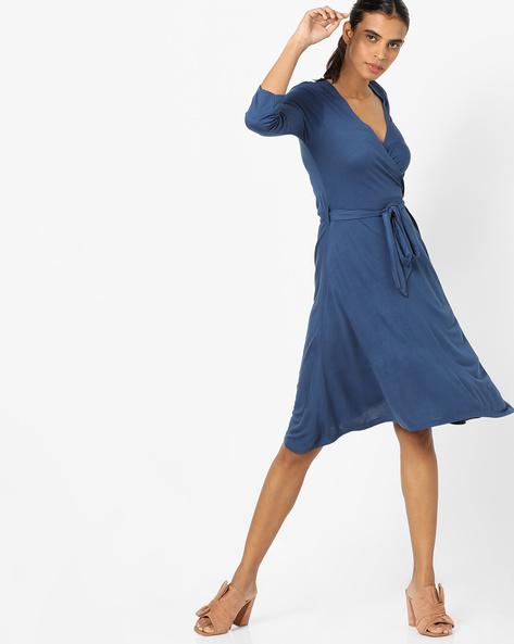 Wrap-Around Sheath Dress By AJIO ( Ink )