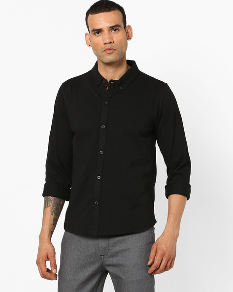 Cotton Knit Shirt With Button-Down Collar By Garcon ( Black )