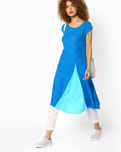 A-line Dress With Contrast Panel By Juniper ( Blue )