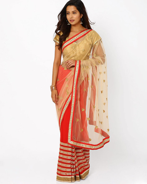 Embroidered Chiffon Half & Half Saree By Florence ( Red )