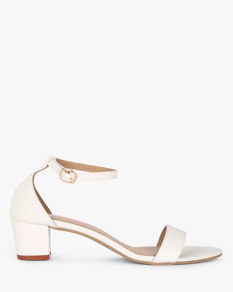 Block Heels With Buckle Closure By MUAZ ( White )