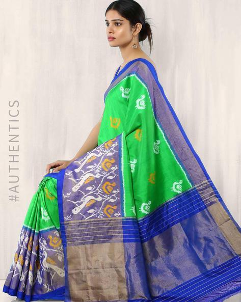 Handwoven Pure Silk Pochampally Ikat Saree By Indie Picks ( Green )