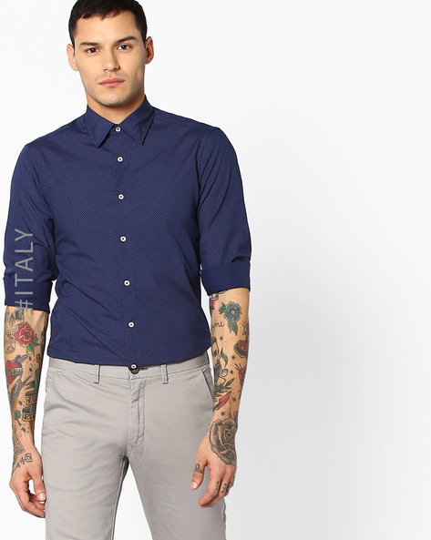 Printed Shirt With Curved Hem By ALCOTT ( Blue )