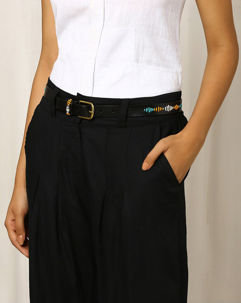 Faux Leather Belt With Embroidery By Indie Picks ( Black )