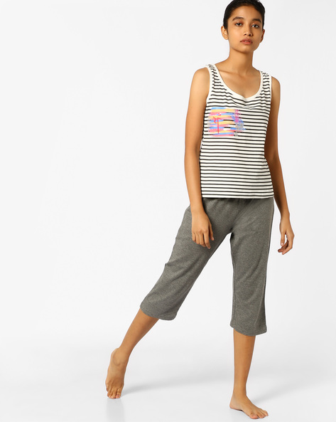 Striped Tank Top And Capris Set By Slumber Jill ( Grey )