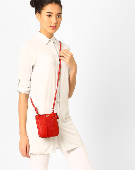 Panelled Sling Bag By Lavie ( Red )