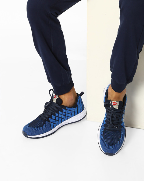 Lace-Up Sports Shoes With Geometric Pattern By Lee Cooper ( Navyblue )