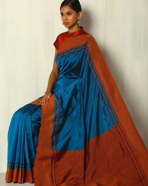 Kadiyal Check Border Striped Pallu Pure Silk Mix Saree By BANASURI ( Blue )