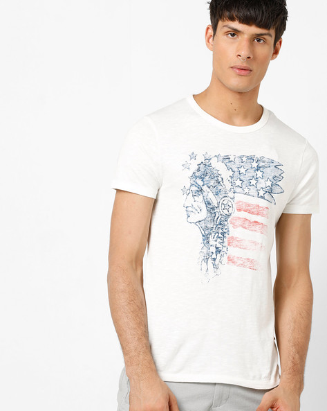 Slim Fit Printed Crew-Neck T-shirt By Jack & Jones ( Cloud ) - 460185833003