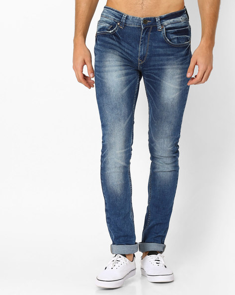 Lightly Washed Skinny Fit Jeans By SPYKAR ( Blue )