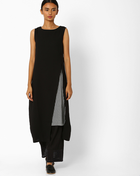 Panelled Kurta With Front Slit By W ( Black )