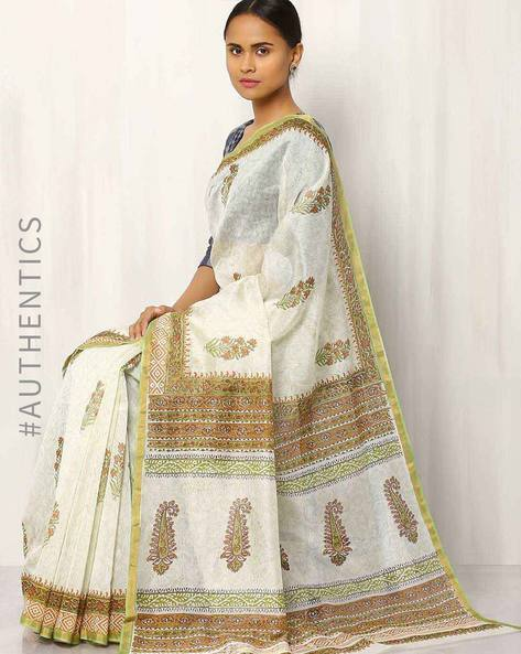 Hand Block Print Chanderi Saree By Indie Picks ( Multi ) - 460016414001