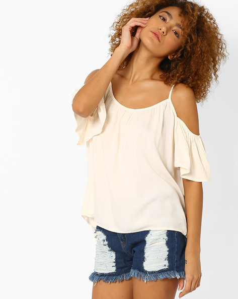 Strappy Cold-Shoulder Top By AJIO ( White )