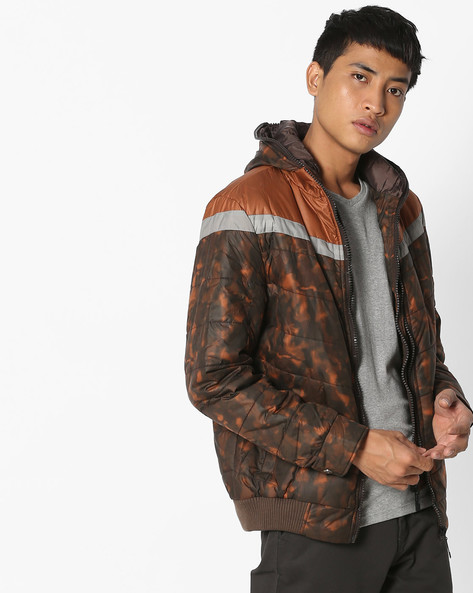 Printed Jacket With Front Zipper By Fort Collins ( Coffeebrown )