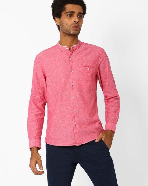 Casual Shirt With Band Collar By NETPLAY ( Pink )