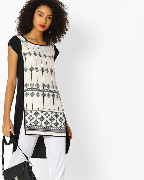 Printed Tunic With Step Hem By FUSION BEATS ( Cream )
