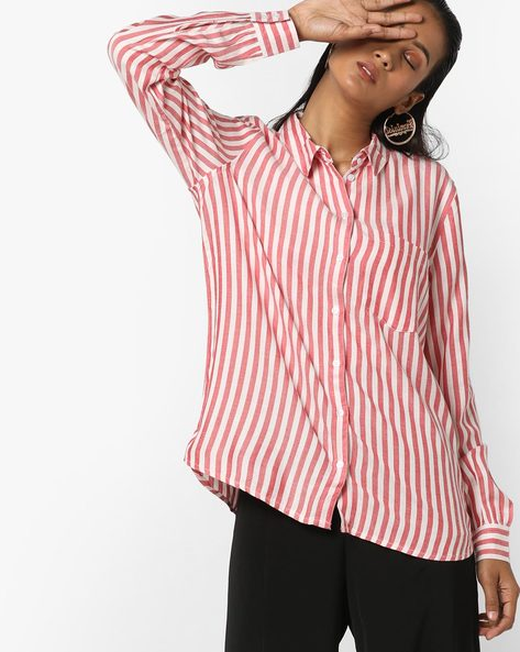 Striped Shirt With Patch Pocket By Only ( Red )