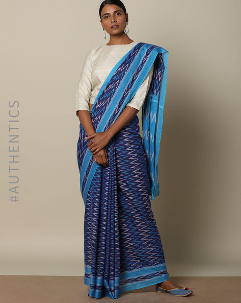 Zig-Zag Print Ikat Cotton Saree By Indie Picks ( Blue )