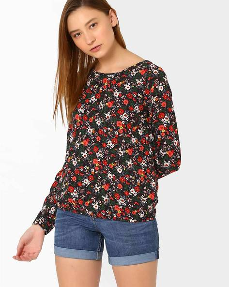 Floral Print Blouson Top By Vero Moda ( Black )