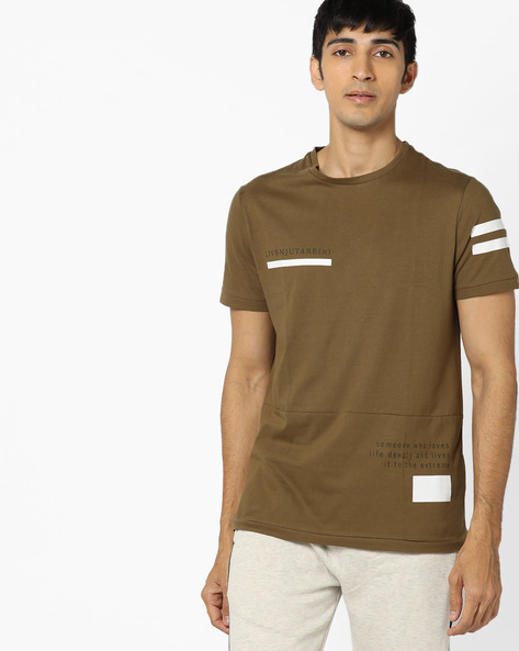 Panelled T-shirt With Placement Print By AJIO ( Olive )