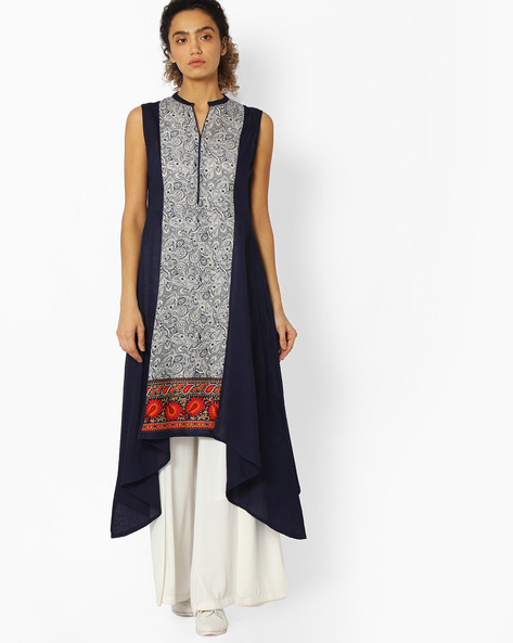 Printed Kurta With Asymmetric Hem By Libas ( Blue )