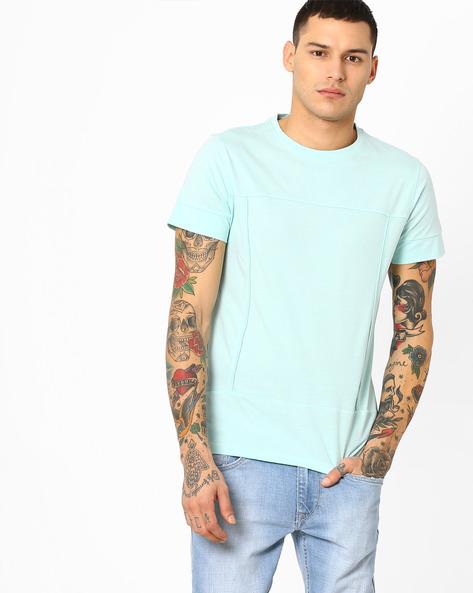 Panelled Crew-Neck T-shirt By AJIO ( Lightblue )