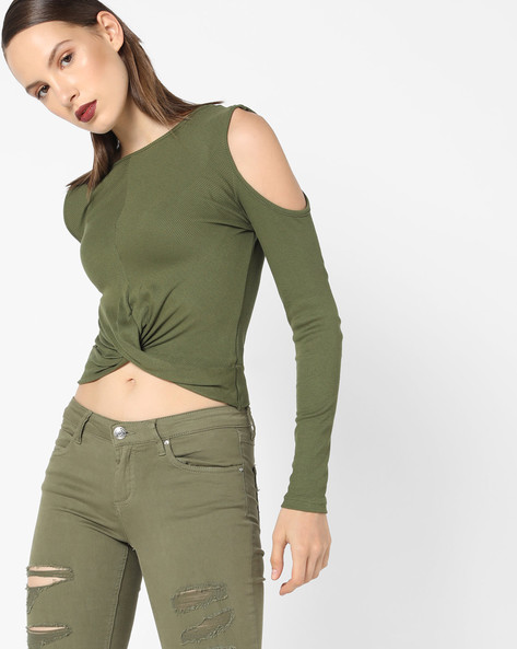 Ribbed Top With Cold-Shoulder Sleeves By AJIO ( Olive )