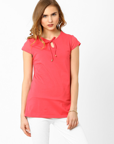 Top With Sheer Cap Sleeves By AJIO ( Coral )