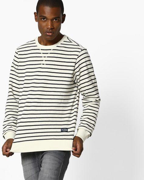 Striped Crew-Neck Sweatshirt By FLYING MACHINE ( White )