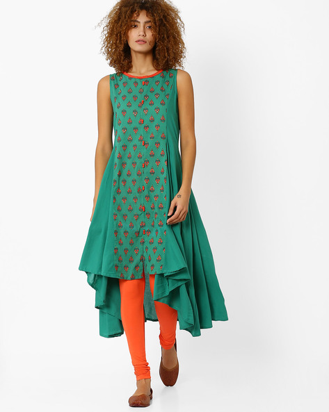 Cotton Kurta With Waterfall Hem By AJIO ( Teal )