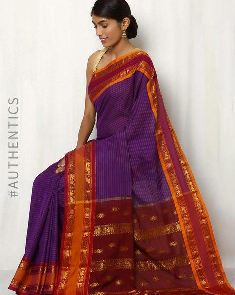 Art Silk Saree With Woven Border By Rudrakaashe-MSU ( Purple )