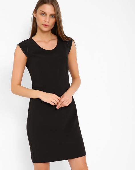 Tailored Dress With PU Panels By AJIO ( Black )
