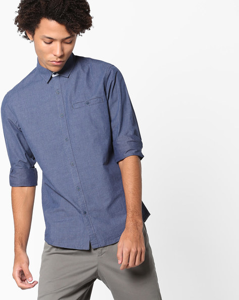 Slim Fit Shirt With Welt Pocket By AJIO ( Blue )