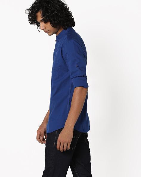 Slim Fit Shirt With Curved Hem By Highlander ( Blue )