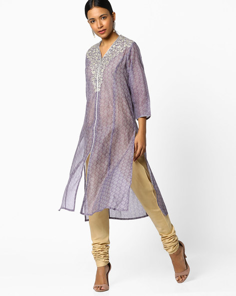 Printed Straight Kurta With Embroidery By Melange By Lifestyle ( Purple )