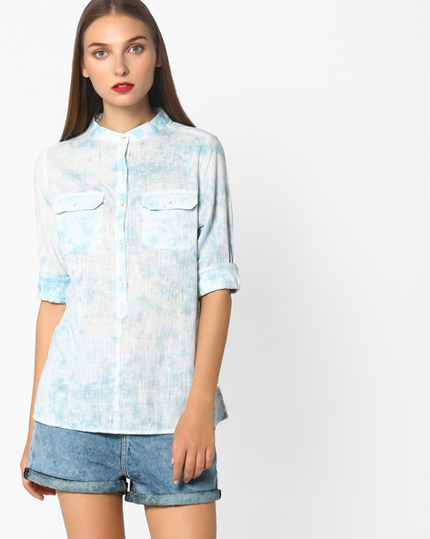 Slub Shirt With Dyed Effect By Pepe Jeans ( Blue )